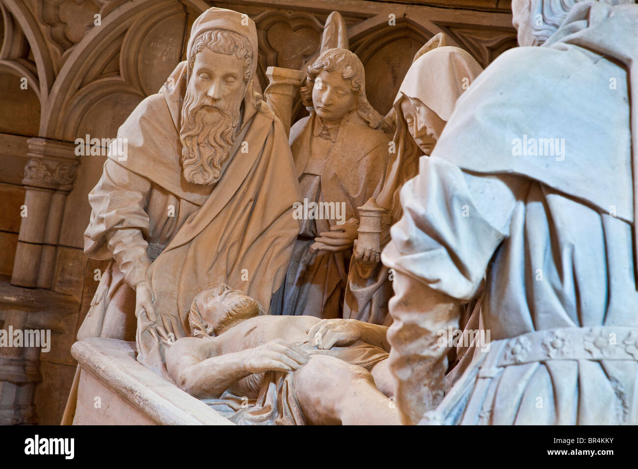 France, Marne, L'Epine, Notre Dame de l'Epine Basilica listed as World Heritage by UNESCO, the Entombment - Stock Image