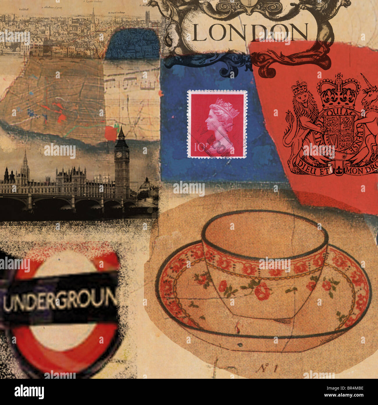 The different attractions of London captured in a poster - Stock Image