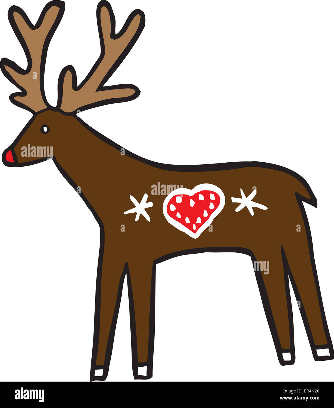 A reindeer with a heart-shape decoration on its body - Stock Image