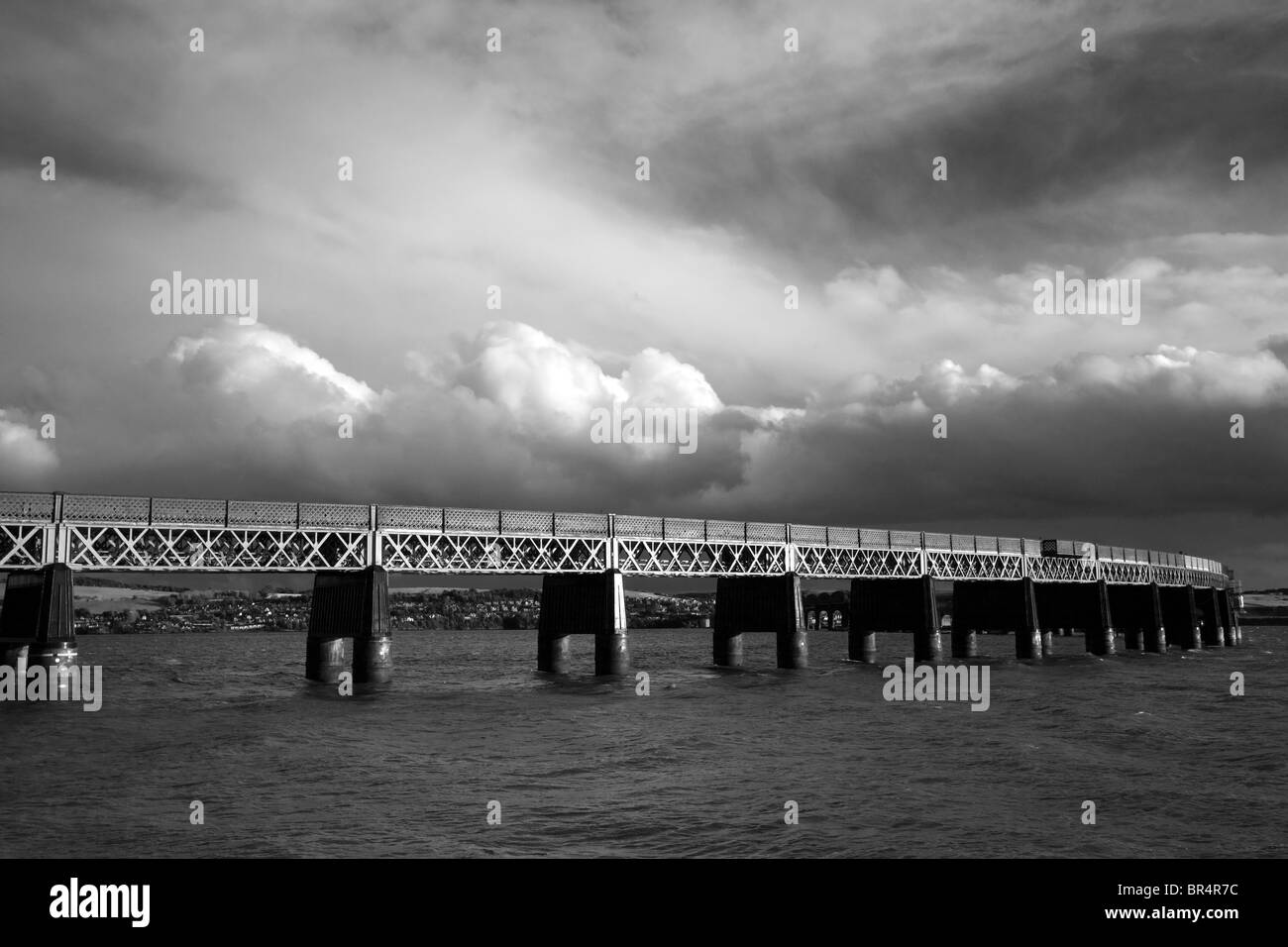 The Tay Railway Bridge, crossing the river Dundee, waterfront, Tayside, Scotland, UK - Stock Image