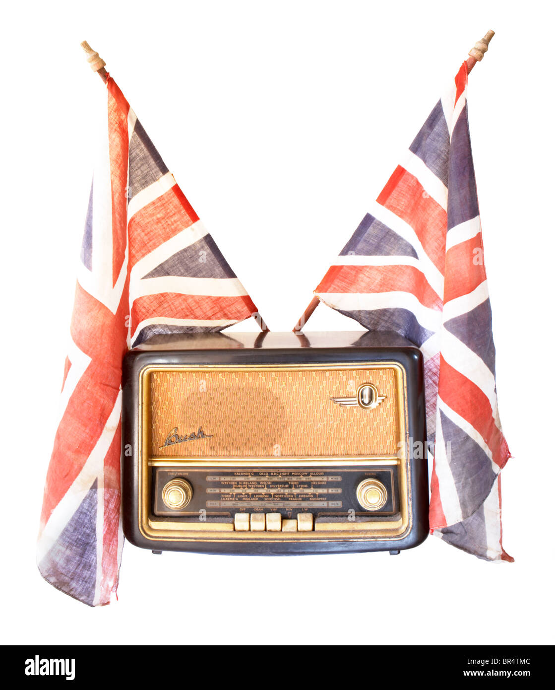 Antique vintage radio and Union Jack flags to represent the 1940's blitz Stock Photo