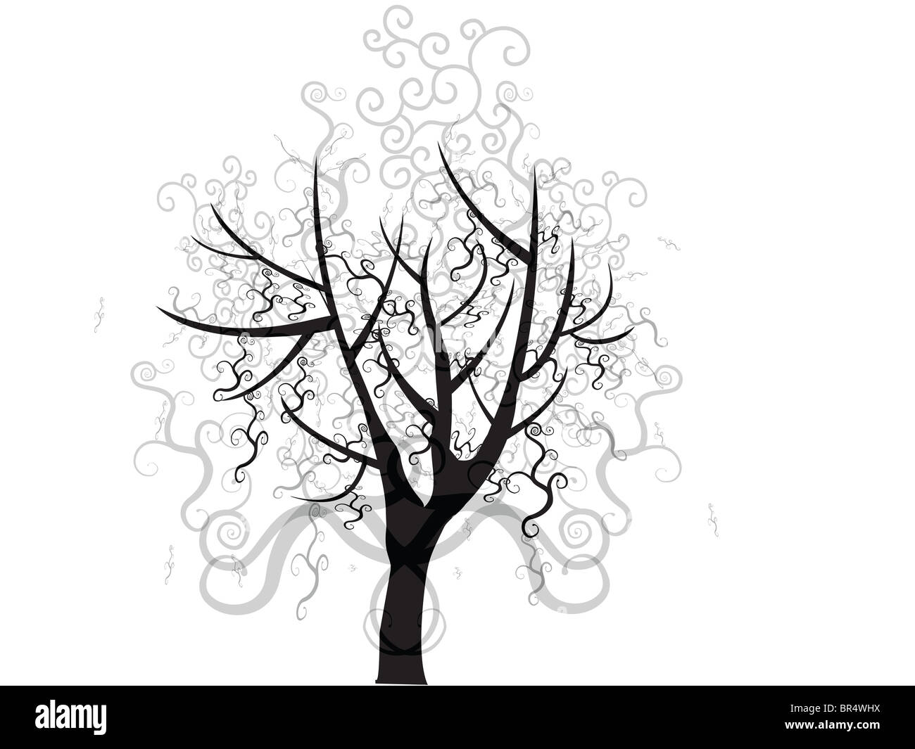 A tree with layers of swirling lines making up the trees foliage Stock Photo