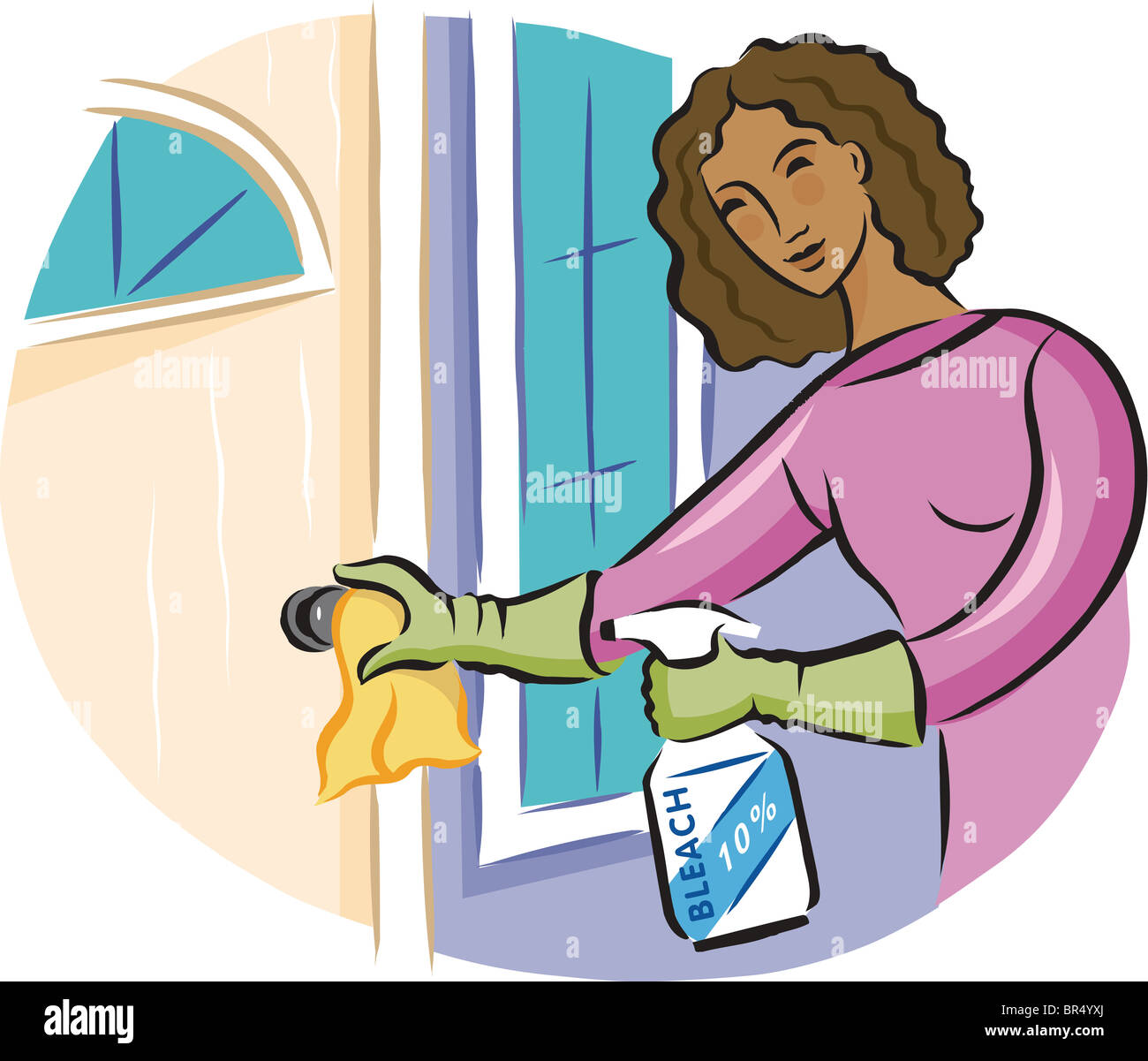 A woman cleaning a door knob with bleach disinfectant spray - Stock Image