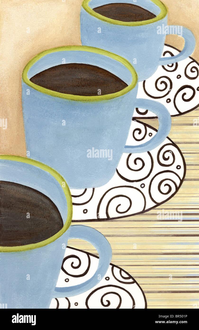 Closeup of three cups of coffee - Stock Image