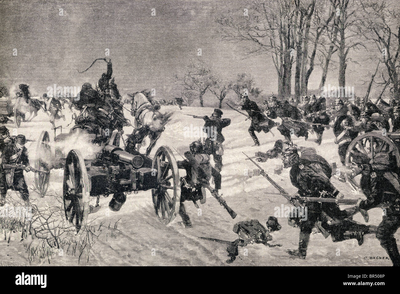 The Battle of Le Mans, 10 - 12 January, 1871. Prussian victory during the Franco-Prussian War. - Stock Image