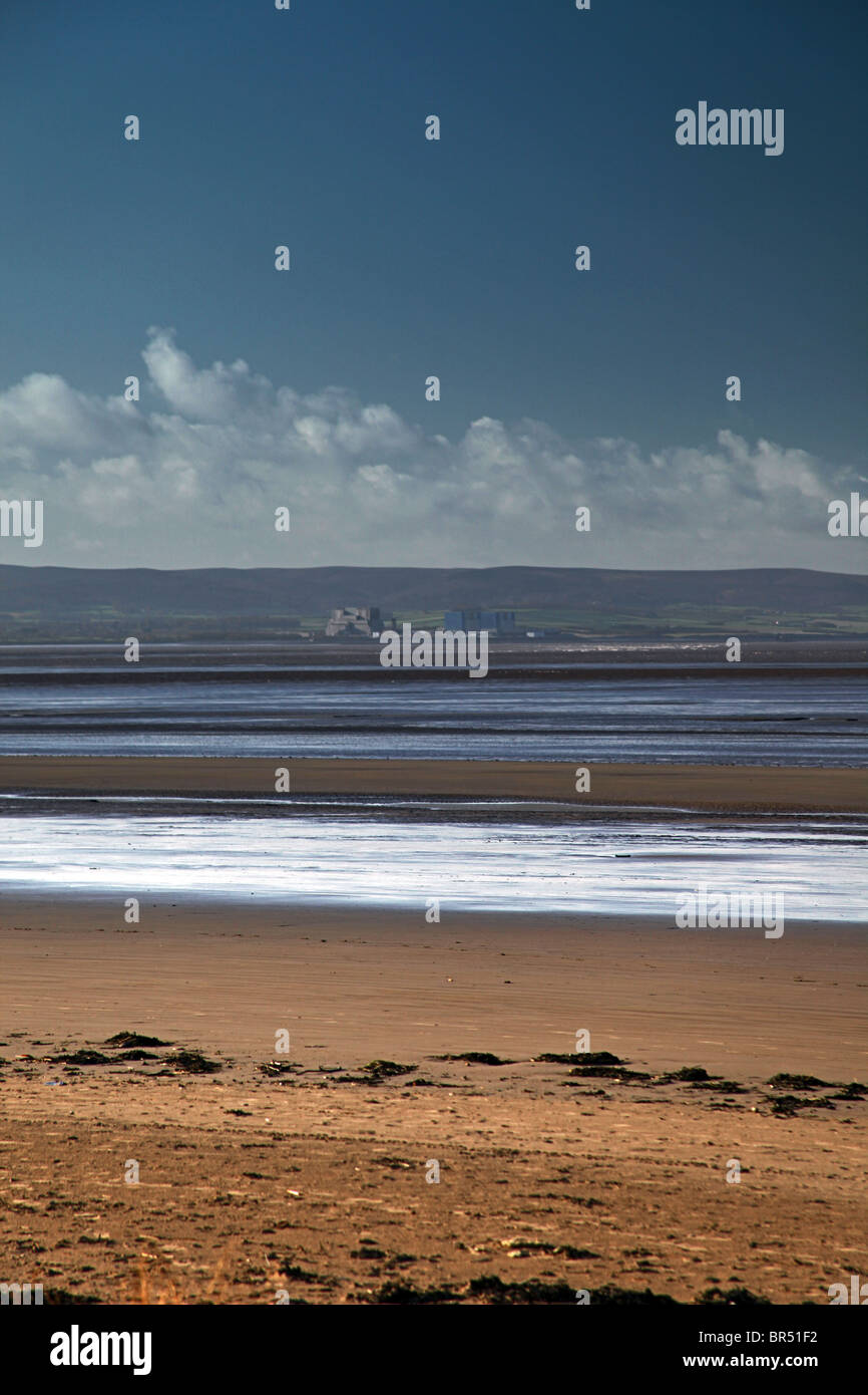 Looking across the River Parrett estuary from Burnham-on-Sea to the Quantock Hills and Hinkley Point nuclear power - Stock Image