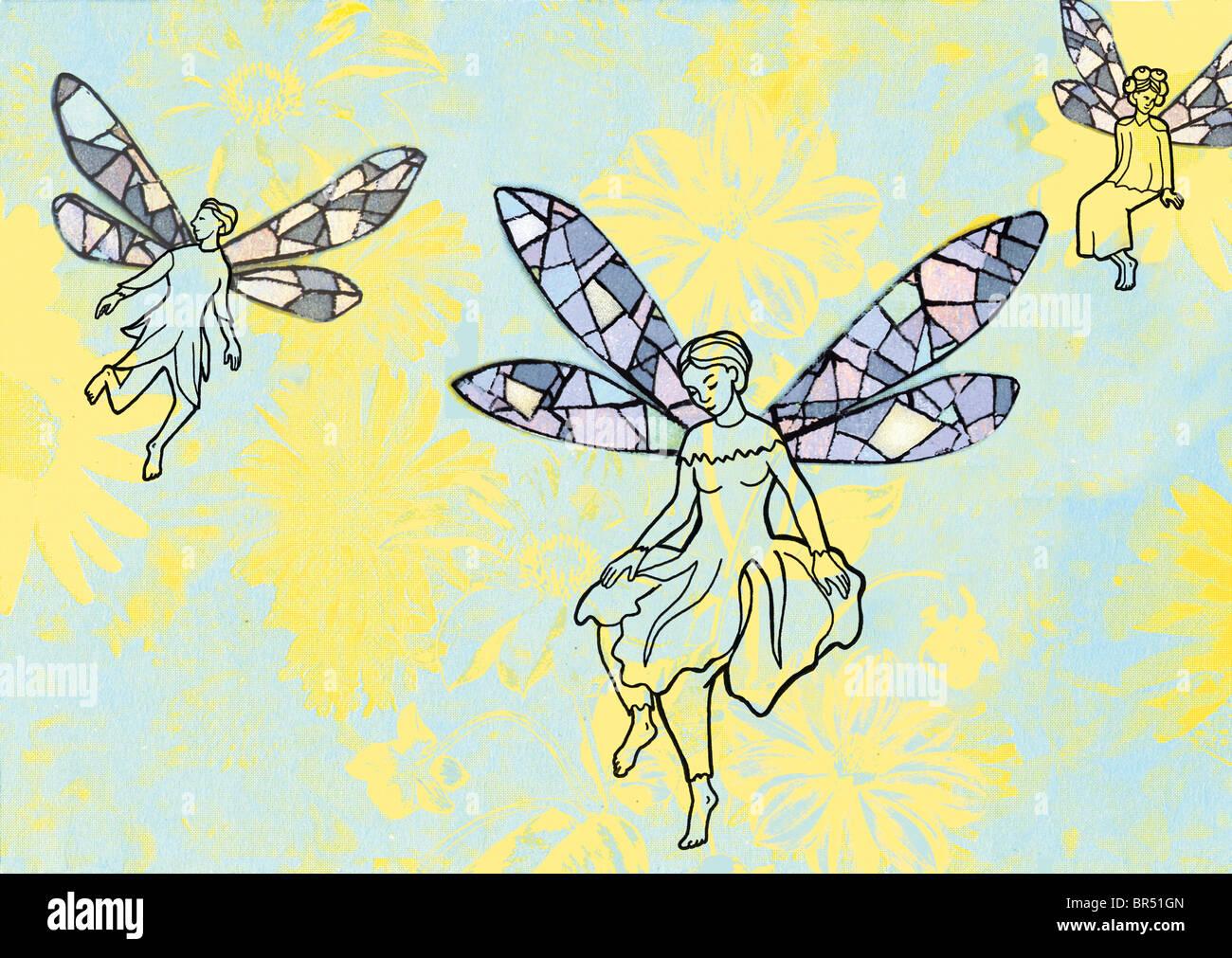 Fairies flying among beautiful flowers - Stock Image