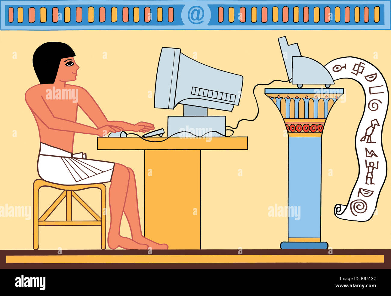 An ancient egyptian using computer and printing out scripts - Stock Image