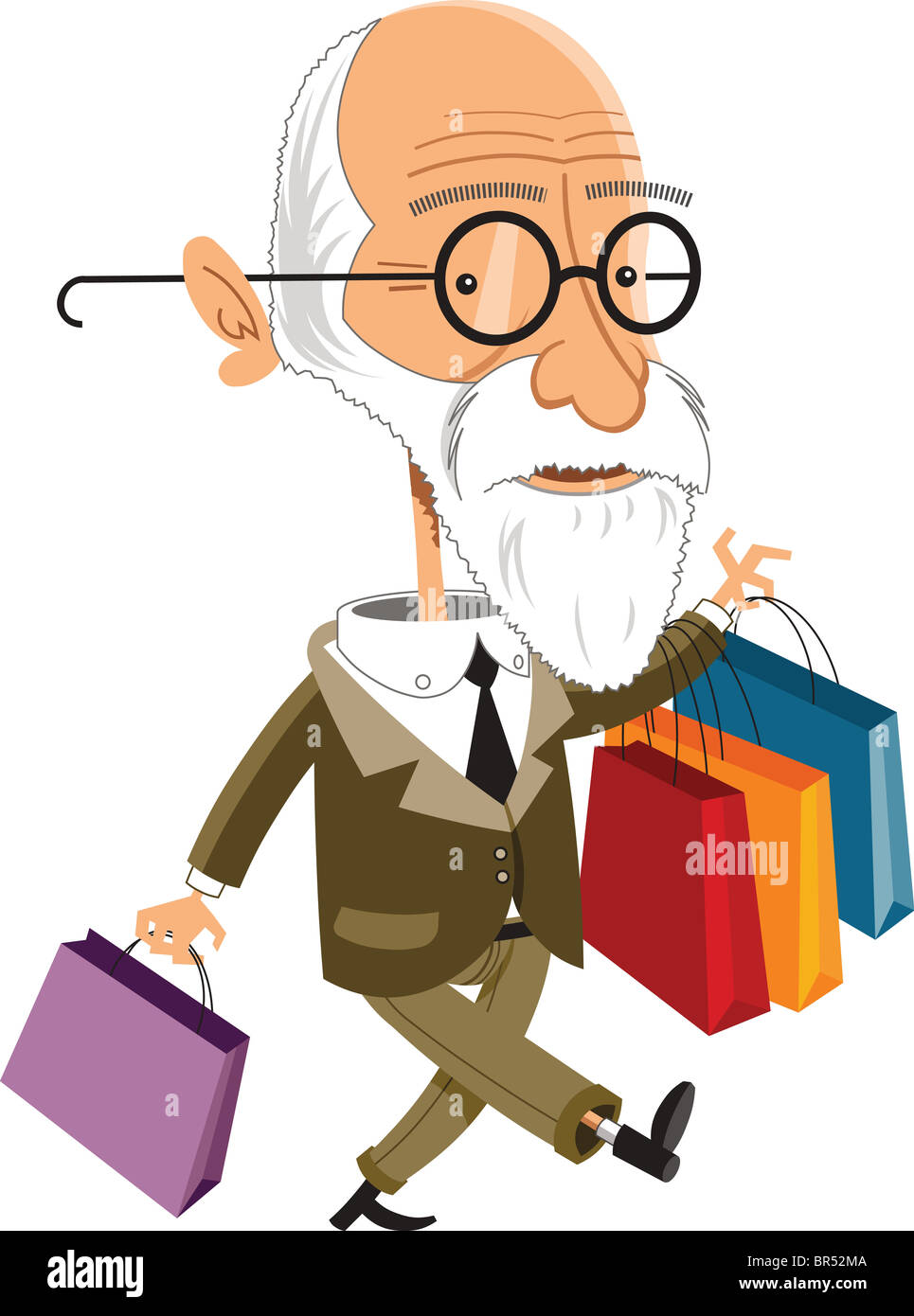 Illustration of a Sigmund Freud walking and holding shopping bags - Stock Image