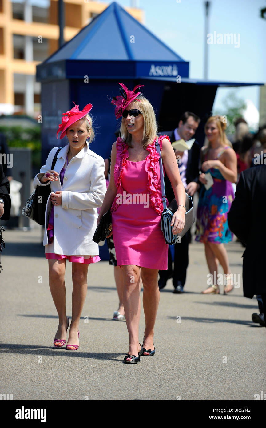 Female race goers wearing hats attend day two of Royal Ascot 2010 - Stock Image
