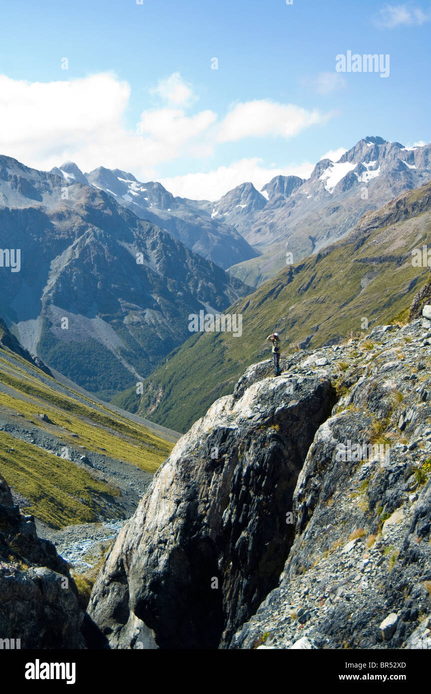 New Zealand, South Island, Arthurs Pass National Park. James O'Donnell in White River drainage. - Stock Image
