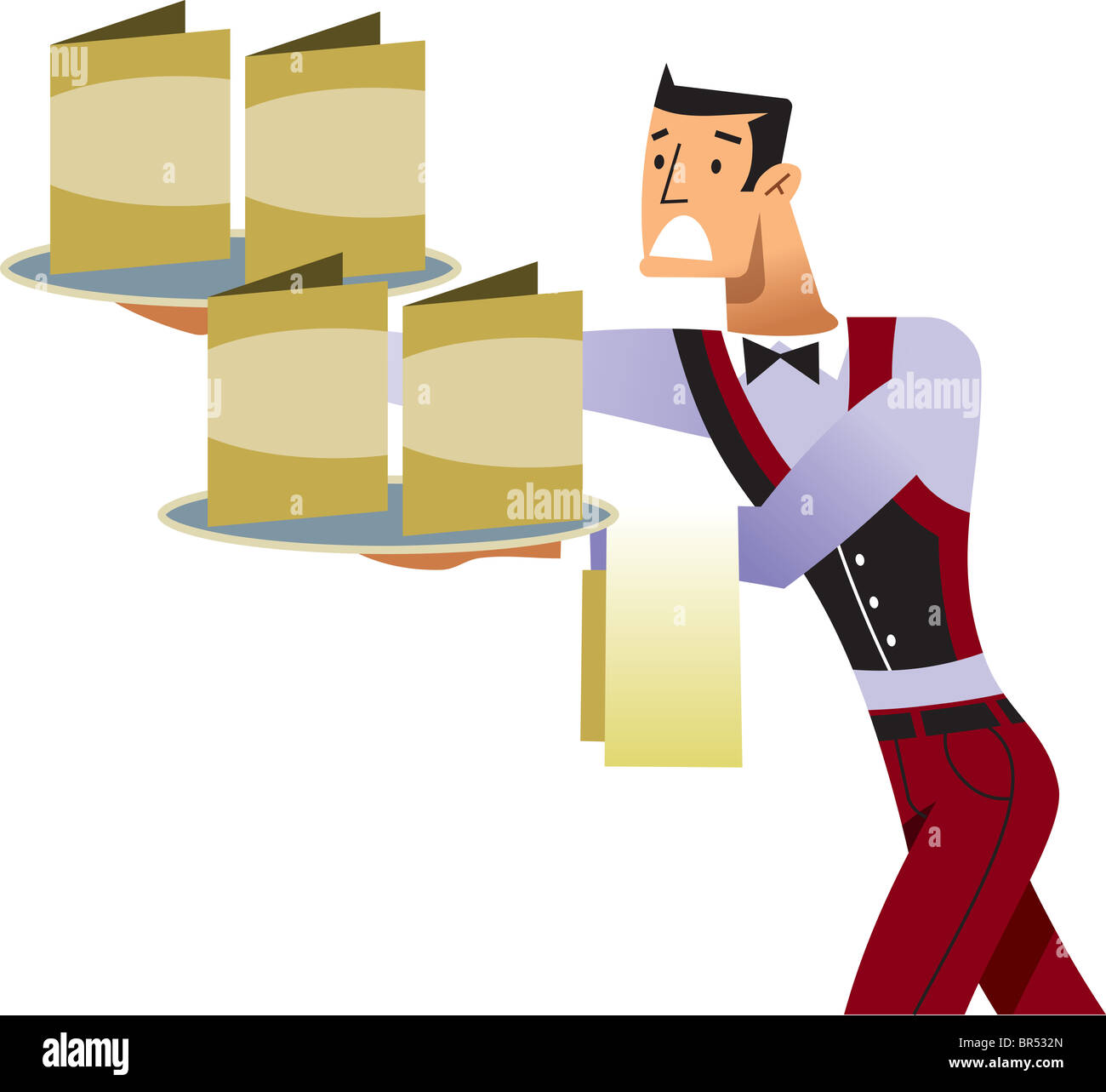 A waiter trying to balance menus on trays - Stock Image