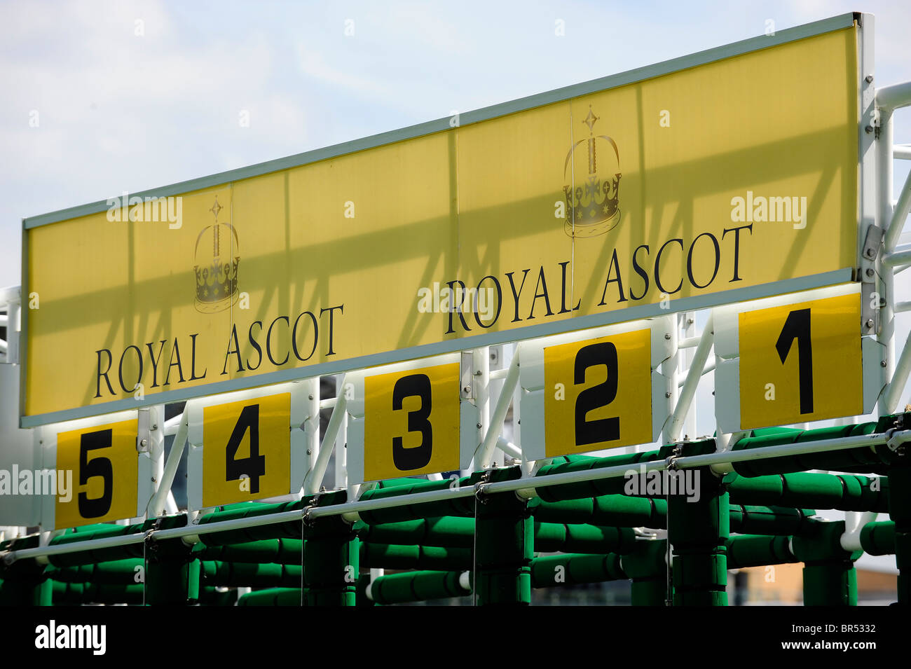 Royal Ascot signage on the tops of the starting stalls during day three of Royal Ascot 2010 - Stock Image