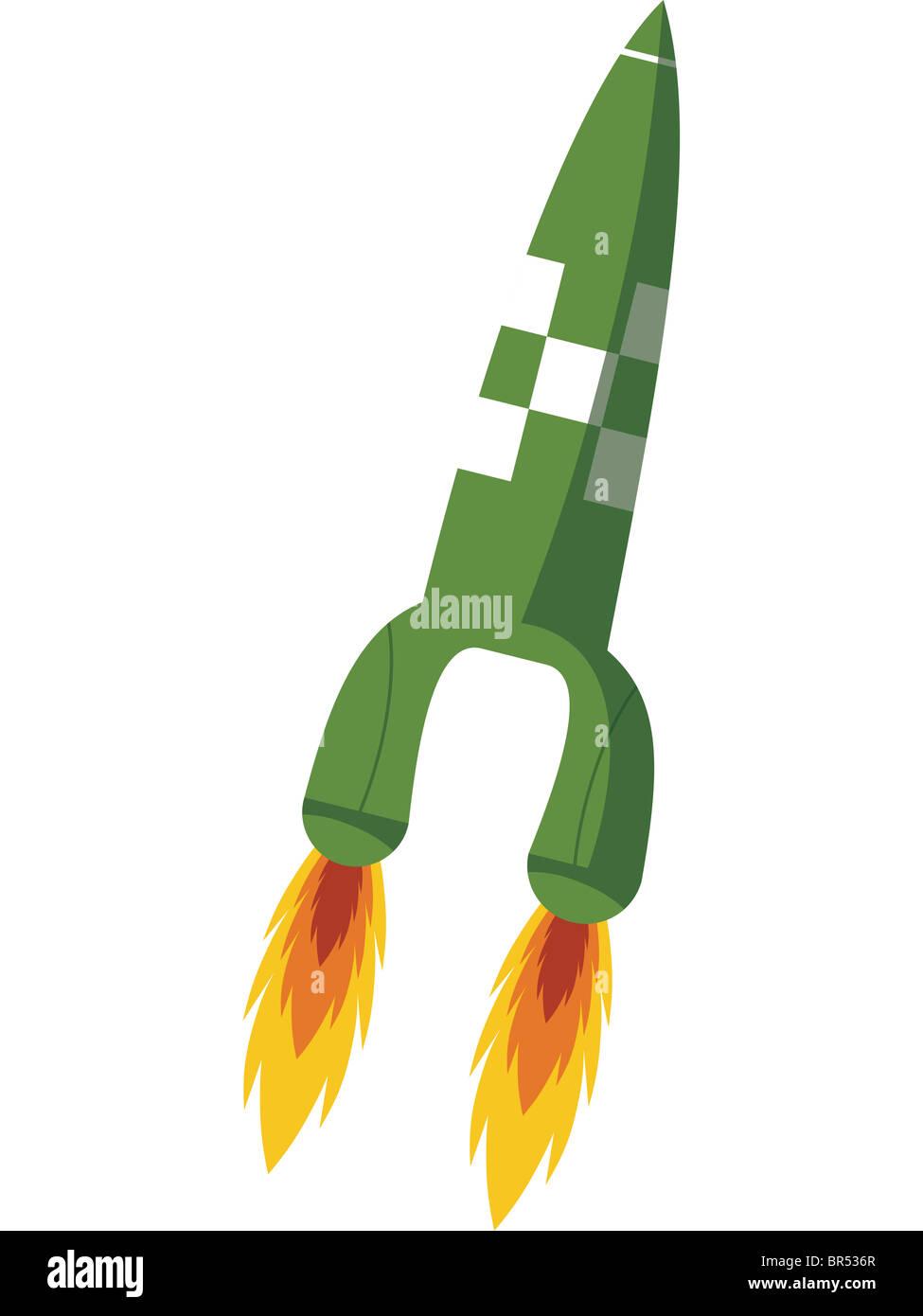 A rocket ship blasting off - Stock Image