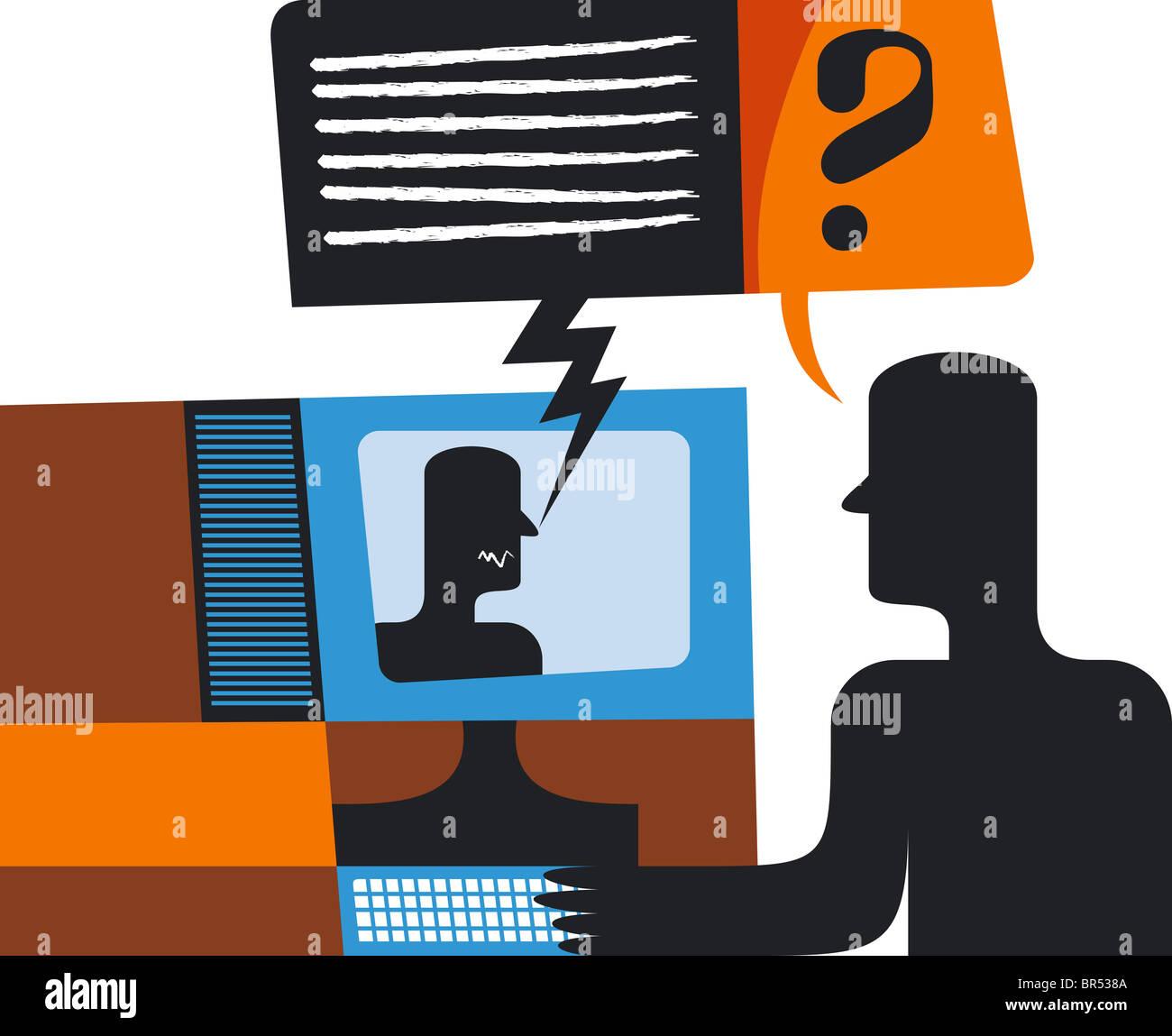 Miscommunication over the internet - Stock Image