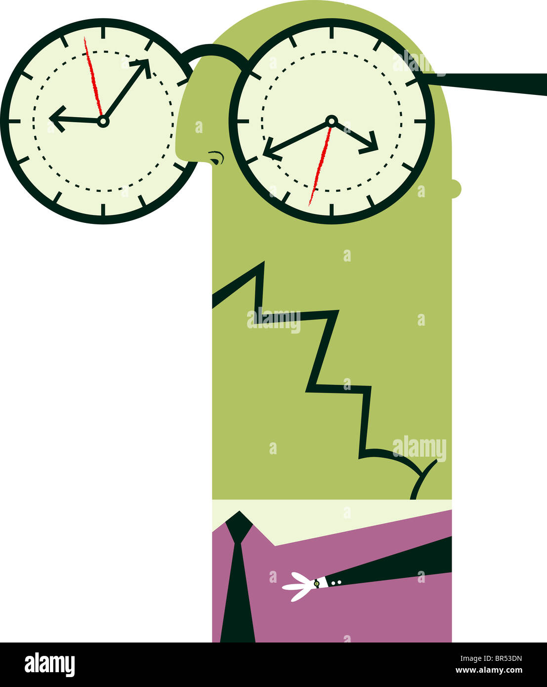 An illustration of a figure wearing over sized glasses with clocks where the lenses usually are - Stock Image