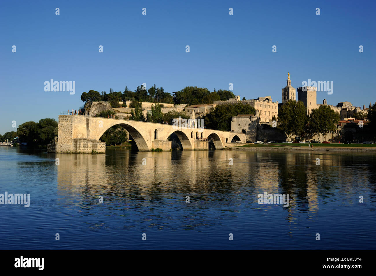 france, provence, avignon, rhone river, saint benezet bridge and papal palace - Stock Image