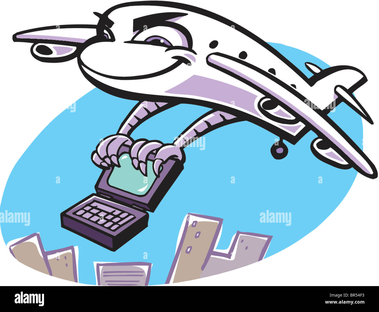 A business travel depicted as a plane flying with a laptop in its claws - Stock Image