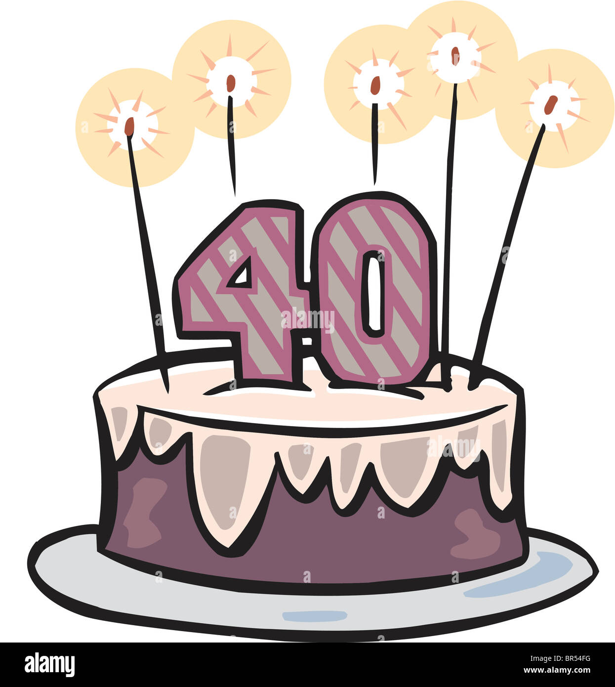 Surprising A Fortieth Birthday Cake With Candles Stock Photo 31460788 Alamy Funny Birthday Cards Online Sheoxdamsfinfo