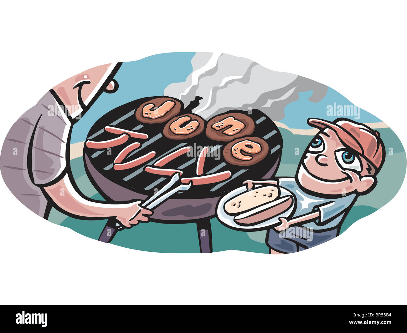 a family having a summer barbeque by the beach stock photo 31461448