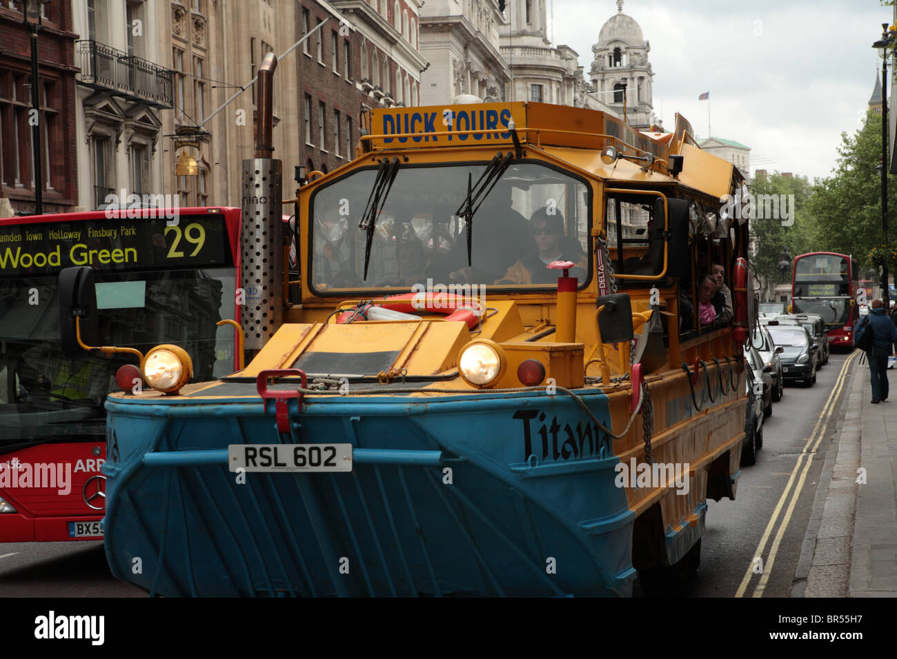 The Duck Bus amphibious vehicle in the street in Whitehall, Westminster, London, SW1. - Stock Image