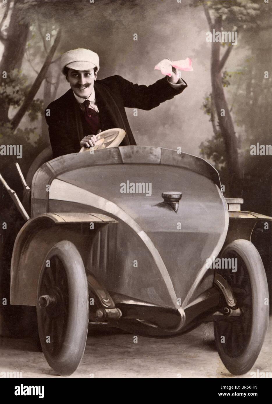 Historic photograph, man driving a cardboard car, around 1912 Stock Photo