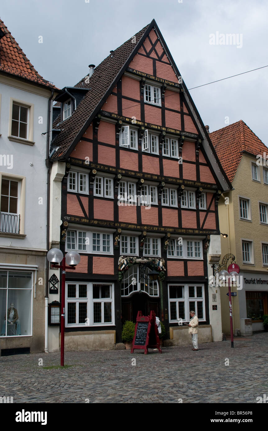This building can be found in Osnabrück old town. It is now in use as the Romantik Hotel Walhalla. - Stock Image