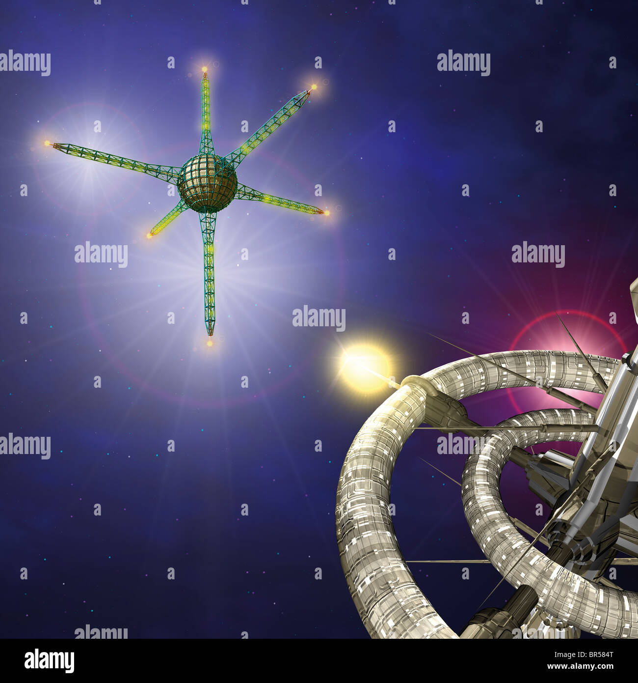 Space two orbital stations - Stock Image
