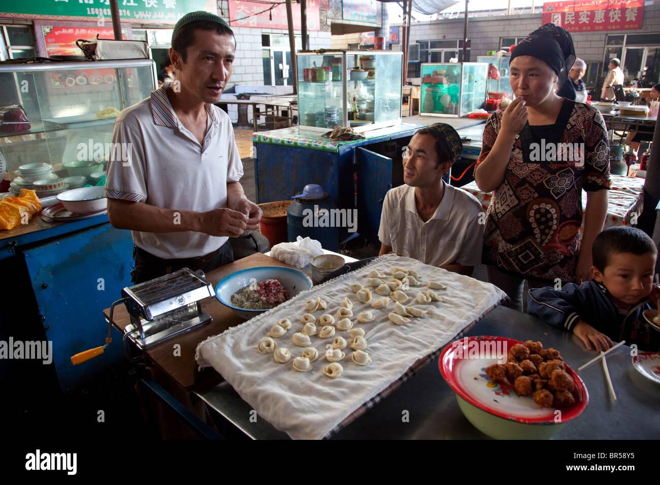 Food section of bazaar in Turpan Xinjiang China. - Stock Image