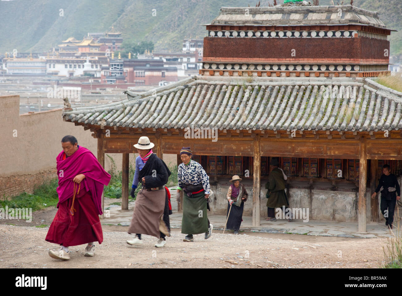 Early morning prayer walk around the twon of Xiahe Gansu China. - Stock Image