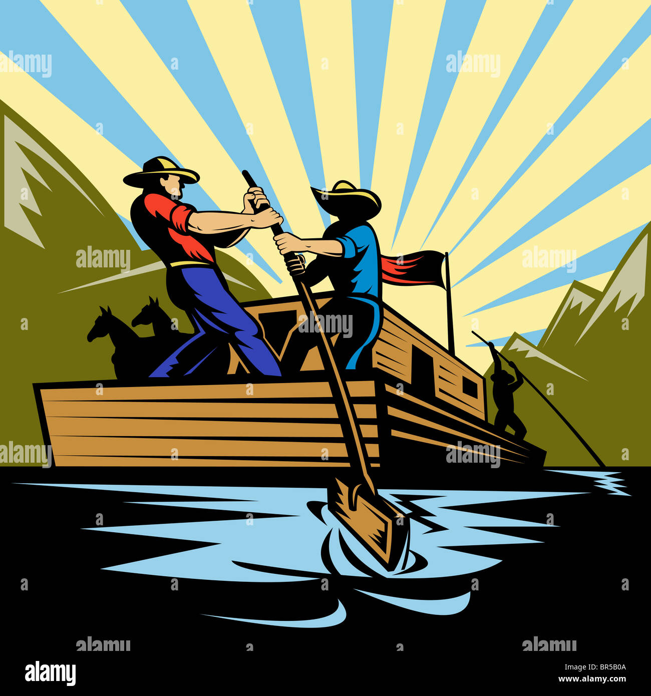 Illustration of a Cowboy man steering flatboat along river Stock Photo