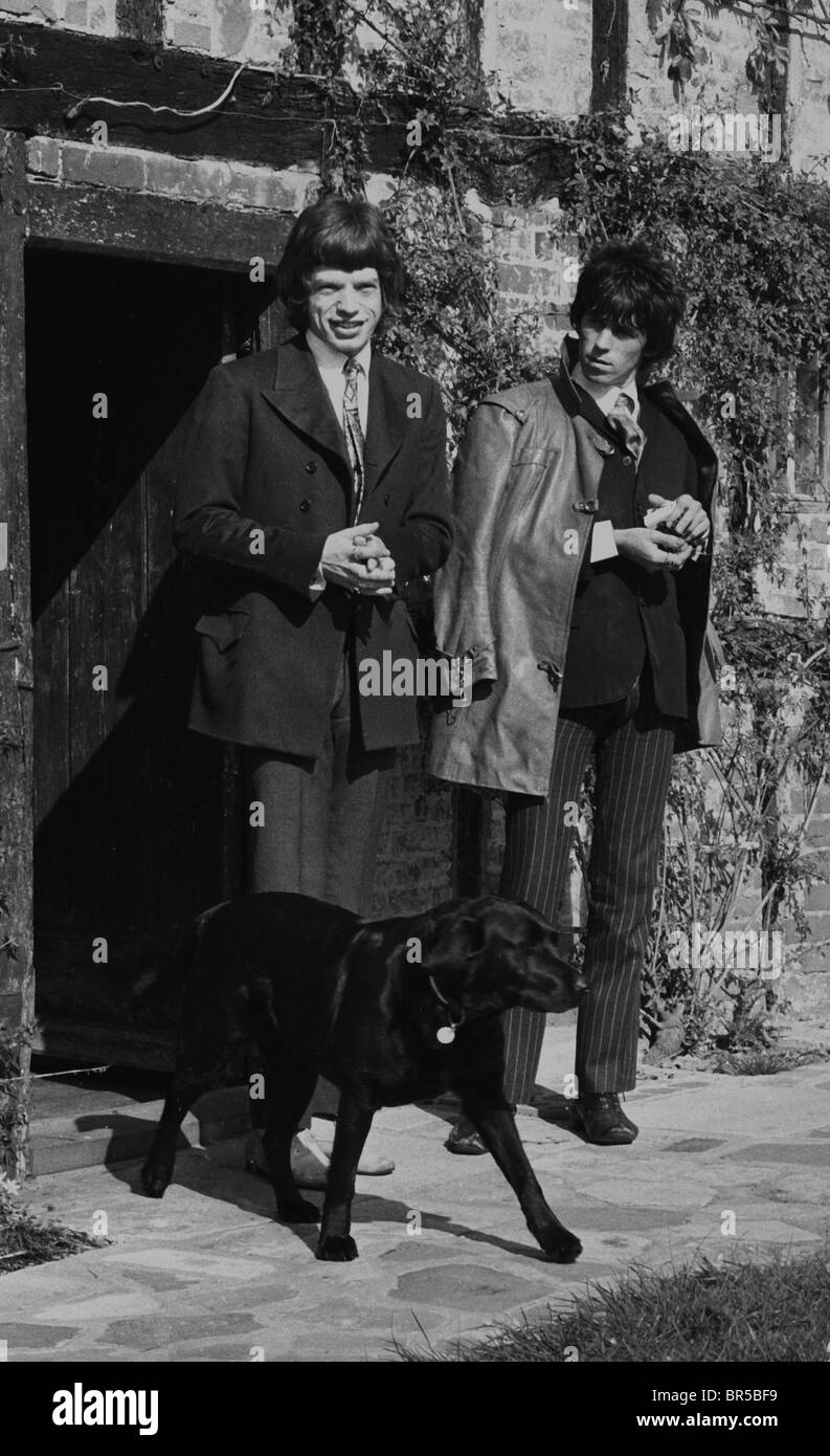 Vintage historical images of Mick Jagger and Keith Richard after the drug raid on Richard's home near Chichester - Stock Image