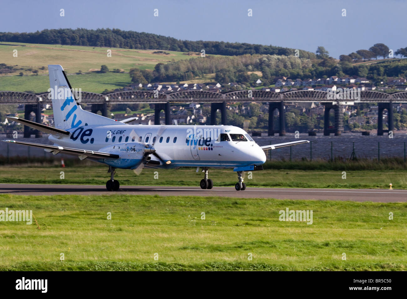Logan Air G-LGNF_ FlyBe aircraft taking Off from Dundee Airport, Tayside, Scotland, UK - Stock Image