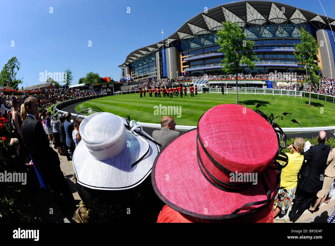 Female race goers in hats around the parade ring during day two of Royal Ascot 2010 - Stock Image