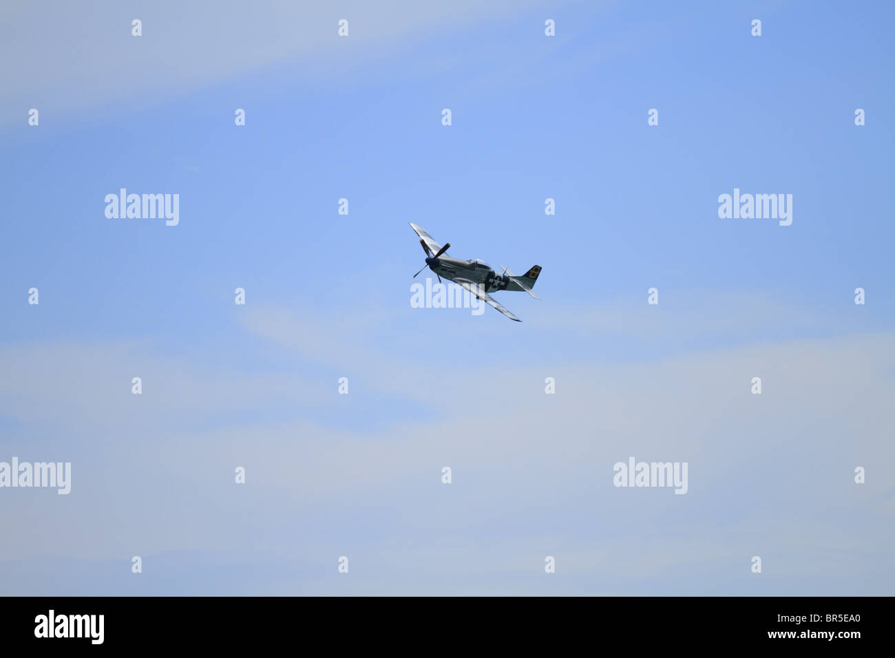A P-51 Mustang flies over at Eastbourne Air Show, East Sussex, England. - Stock Image