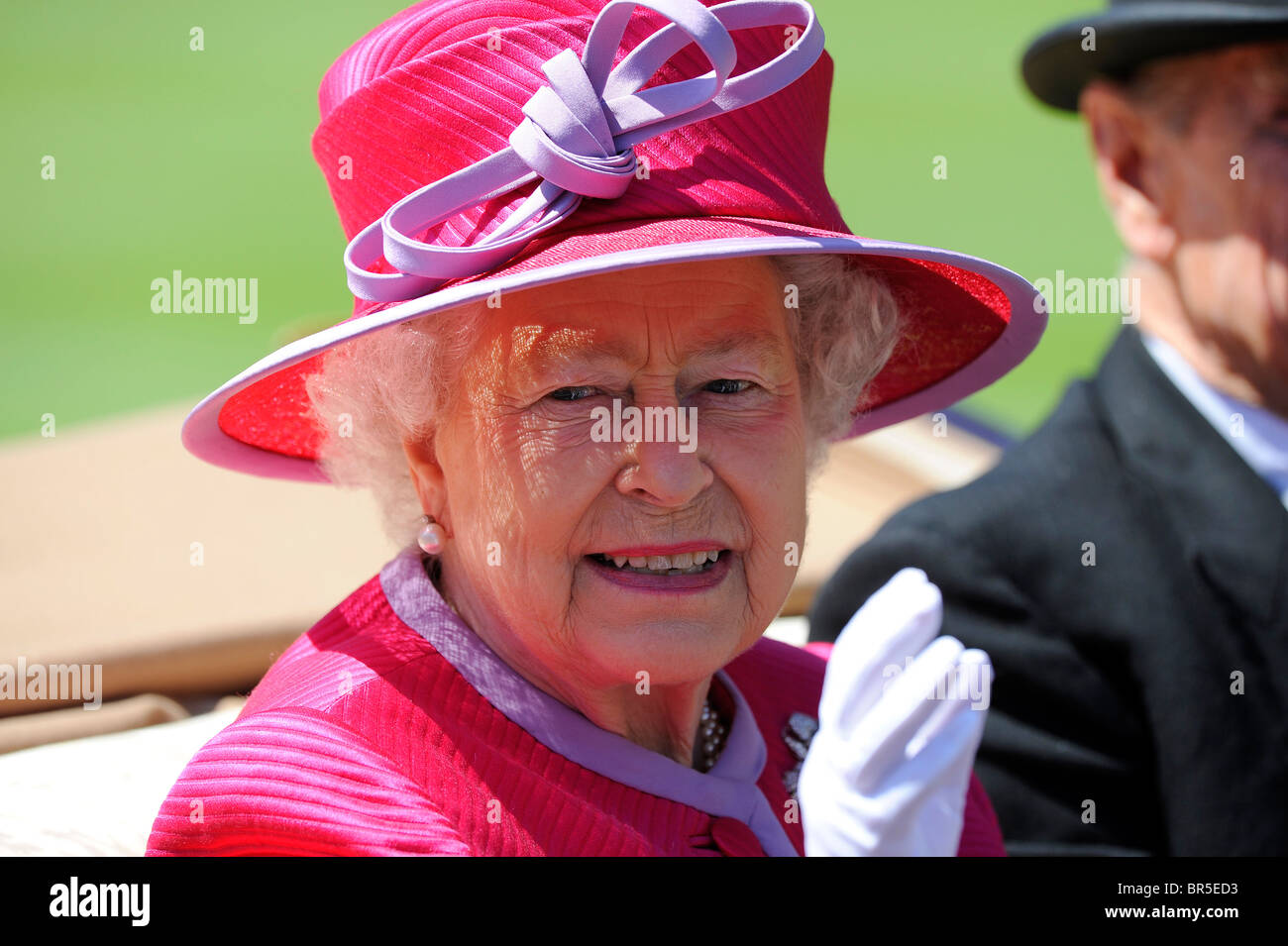 HRH Queen Elizabeth II in the royal procession in the parade ring during day two of Royal Ascot 2010 - Stock Image