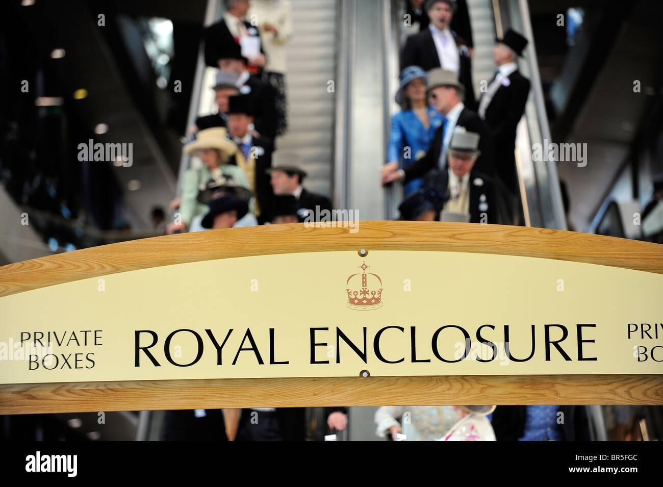 Royal Enclosure sign during day one of Royal Ascot  - Stock Image