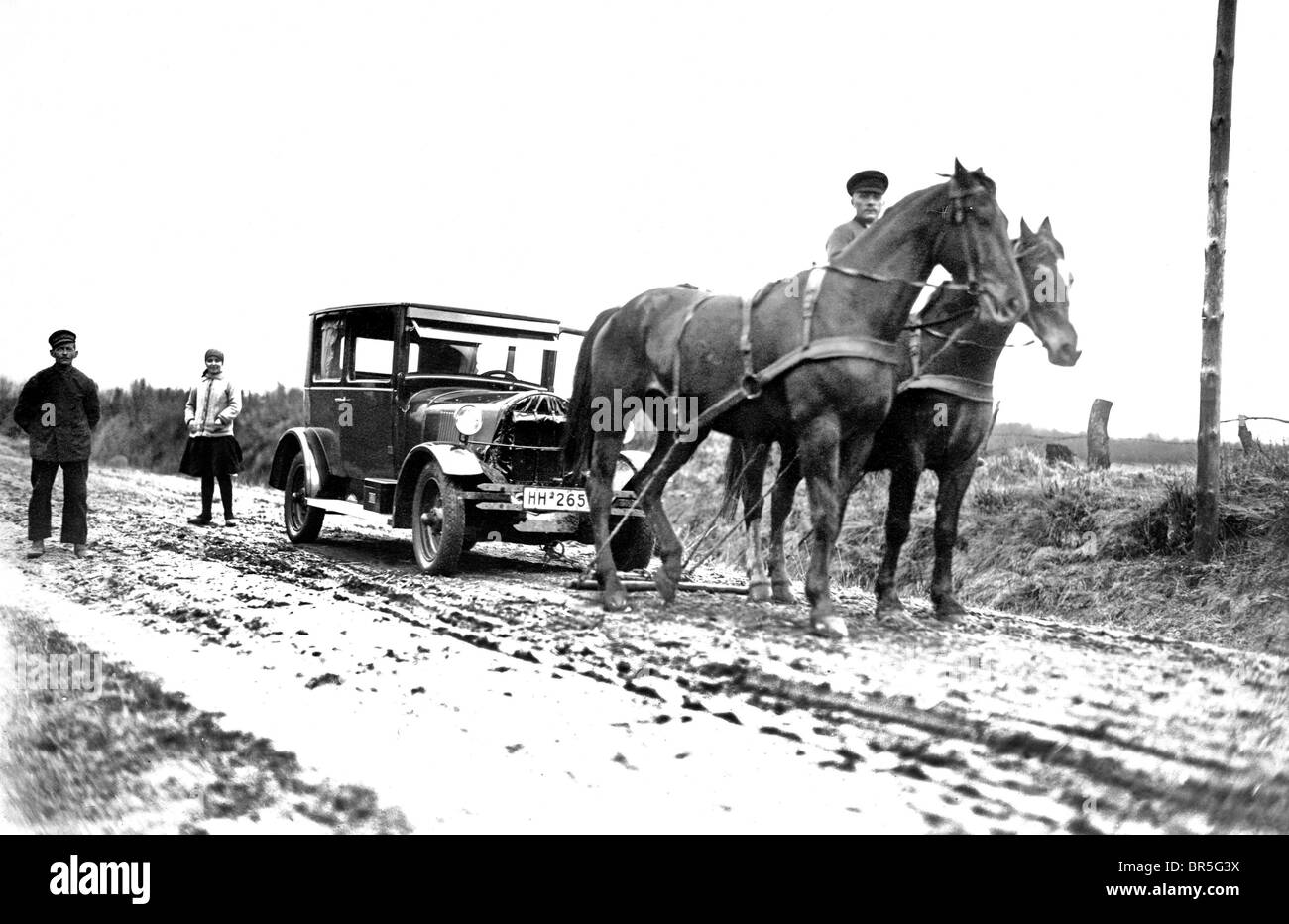 Historic photograph, horse drawing a car, around 1921 - Stock Image