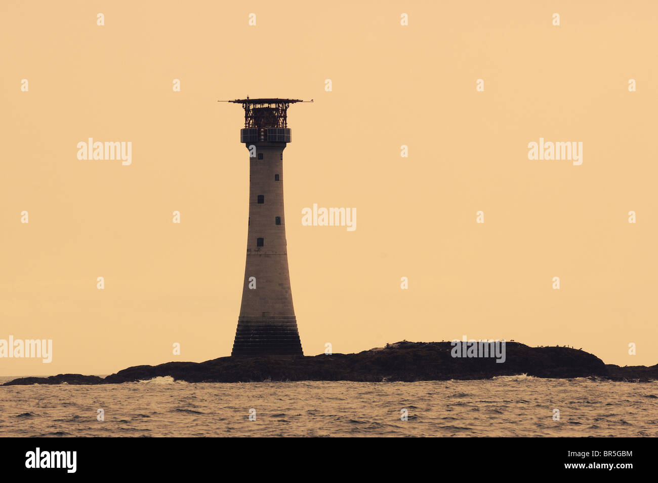 The Smalls Lighthouse (the most remote lighthouse in England and Wales), Pembrokeshire, Wales - Stock Image