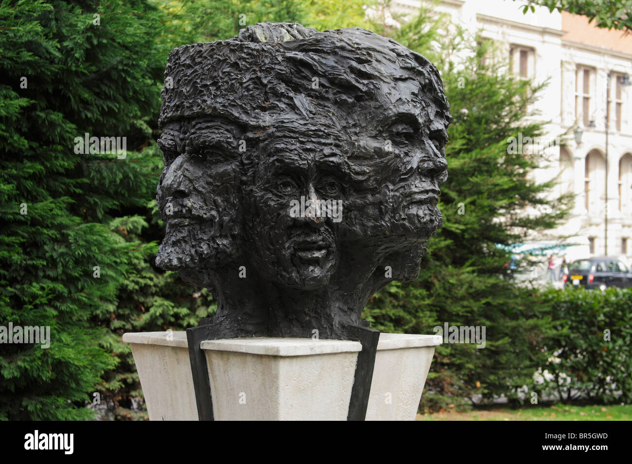 Twelve faces of man bronze statue, South Kensington, London UK Stock Photo