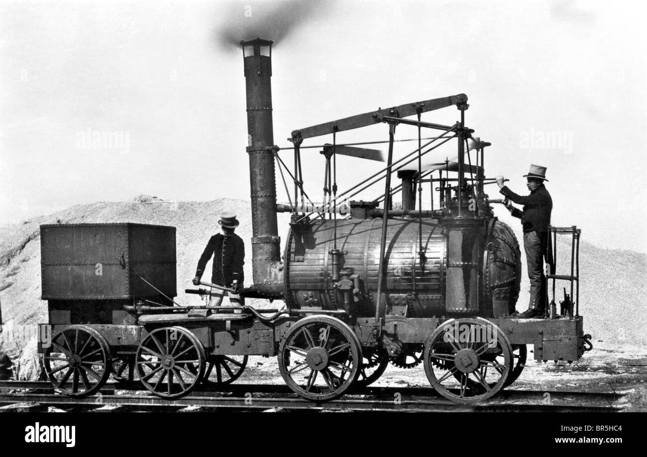 Historic photograph, one of the first steam engines, Puffing Billy, around 1870 - Stock Image