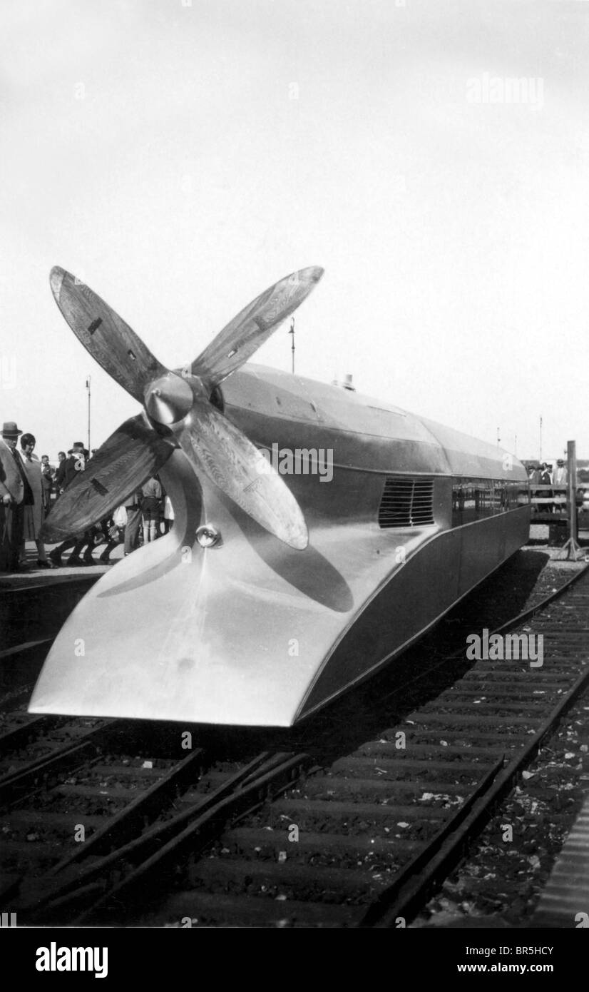 Historic photograph, express train between Hamburg and Berlin, propellor train, around 1929 - Stock Image