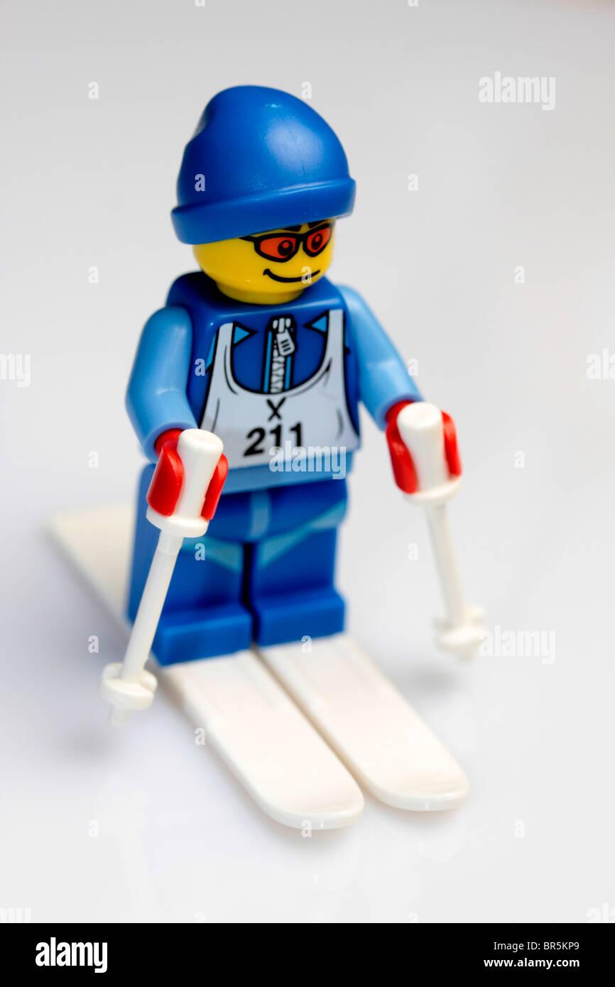 Lego downhill skier. - Stock Image