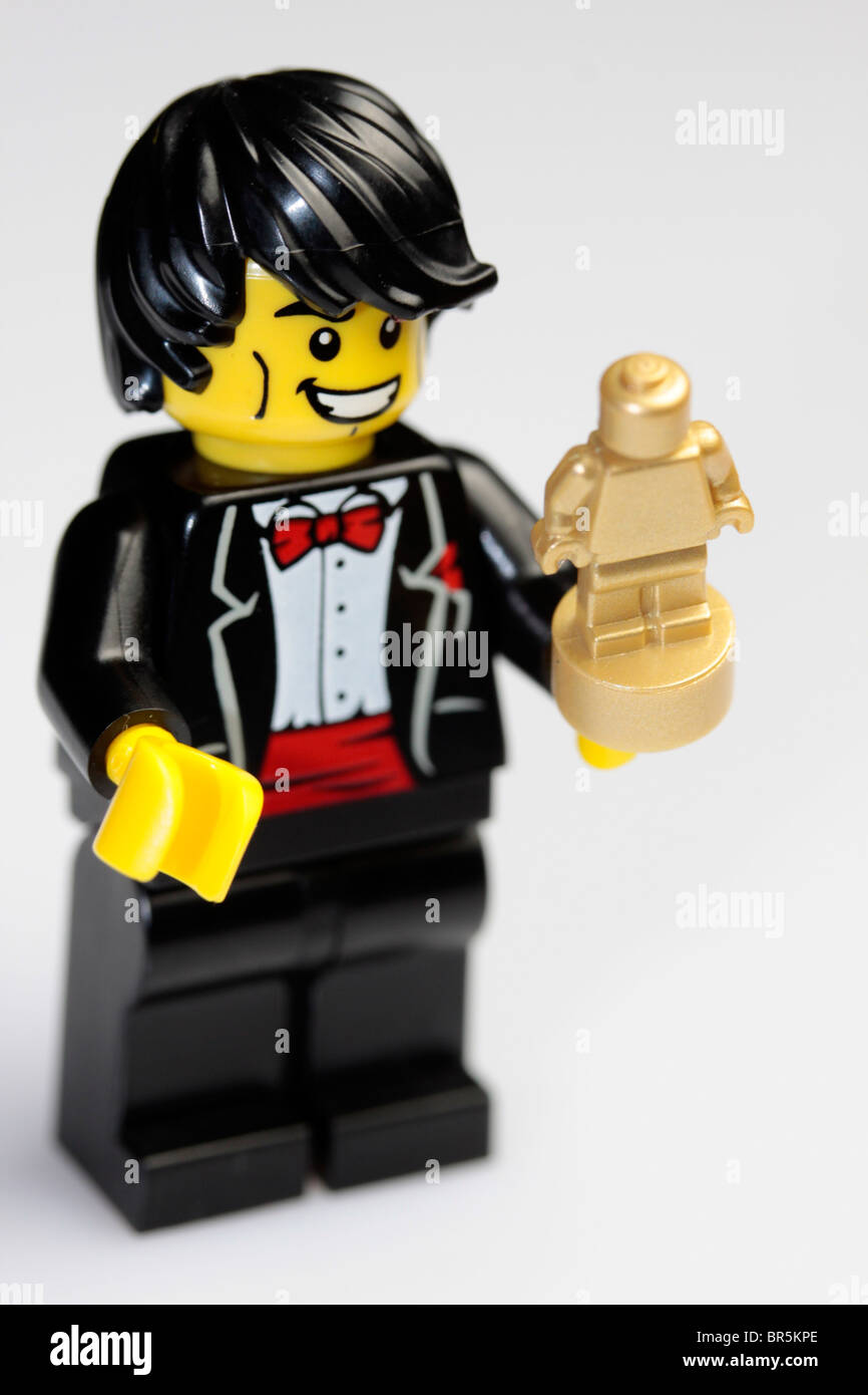 Accepting his award for being the best Lego mini figure ever. - Stock Image