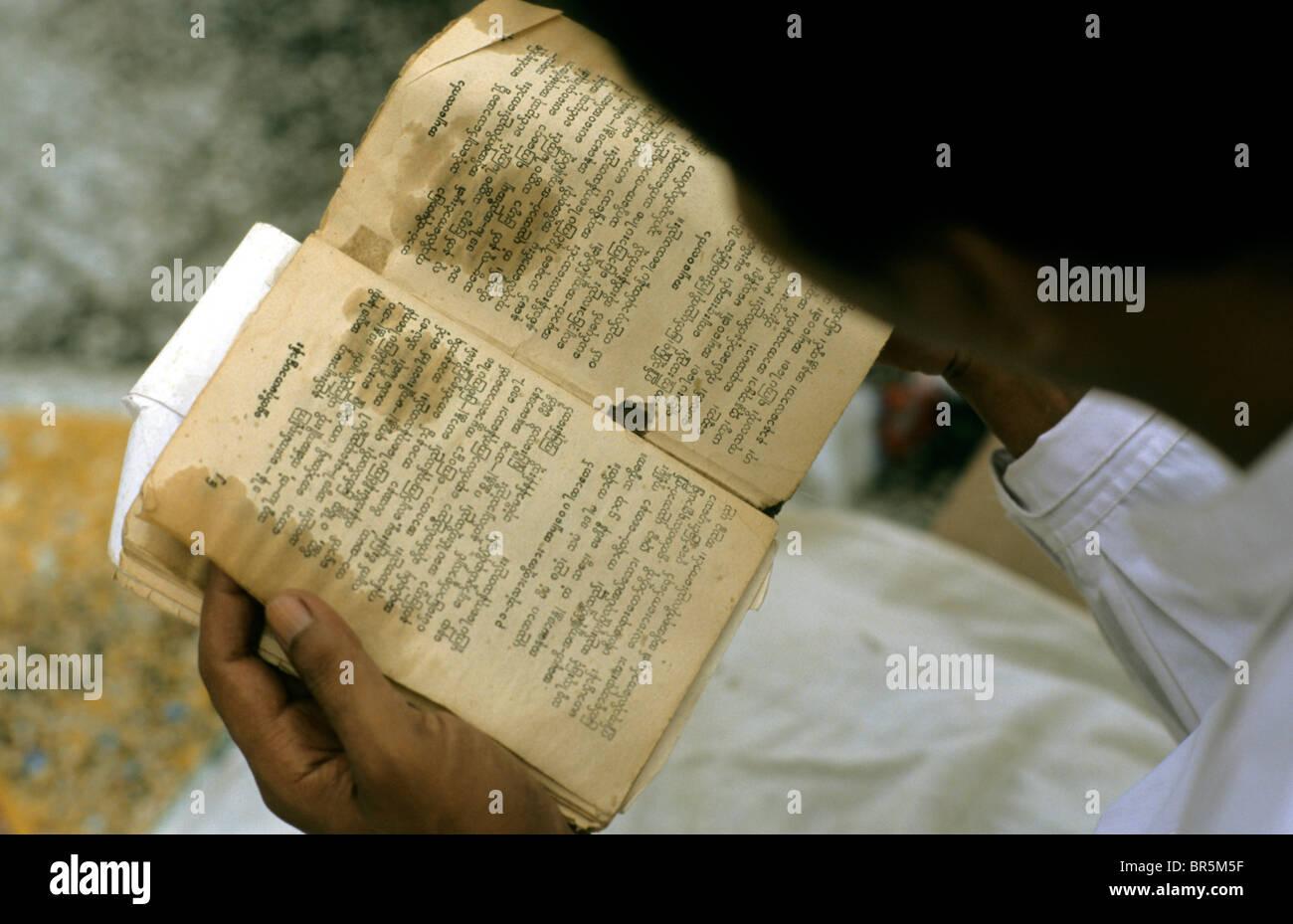 Man reading Buddhist writings, Burma, Myanmar, Asia - Stock Image