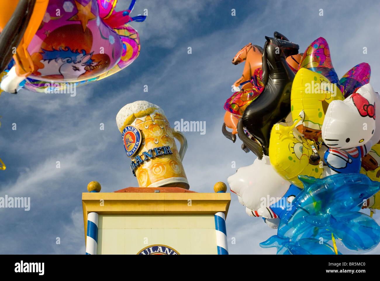 Balloons, advertisment beer stein, Oktoberfest, Munich, Germany, Europe - Stock Image