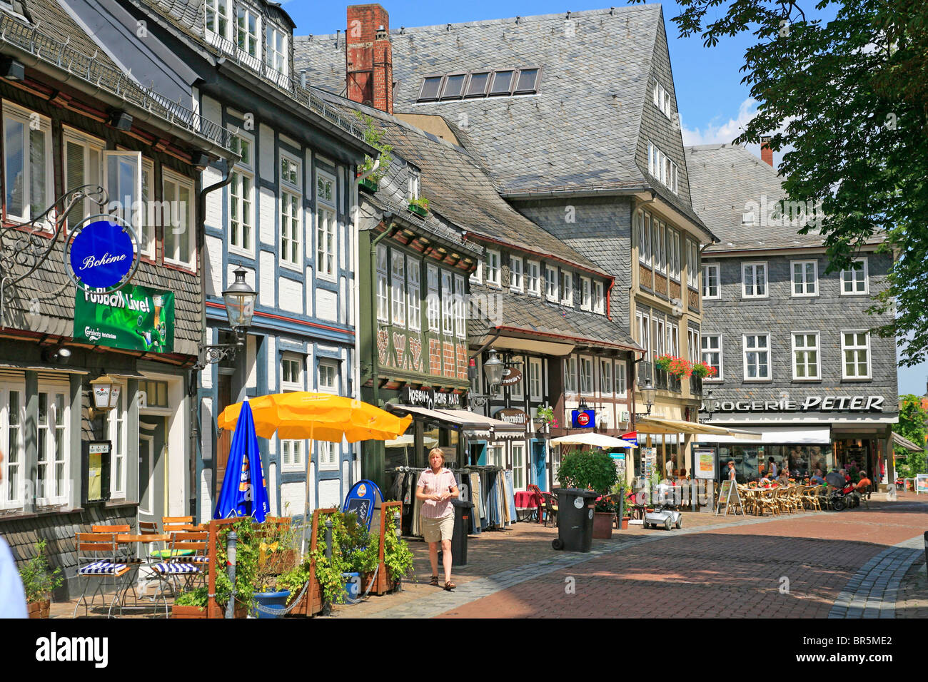 half-timbered houses in Goslar, Harz Mountains, Lower Saxony, Germany - Stock Image