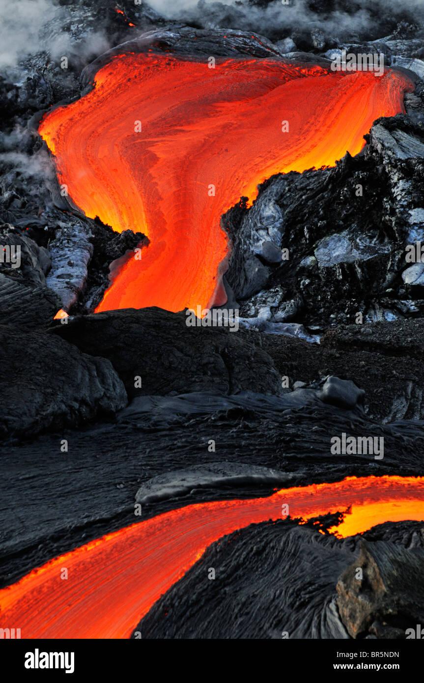 River of molten lava, close up, Kilauea Volcano, Hawaii Islands - Stock Image