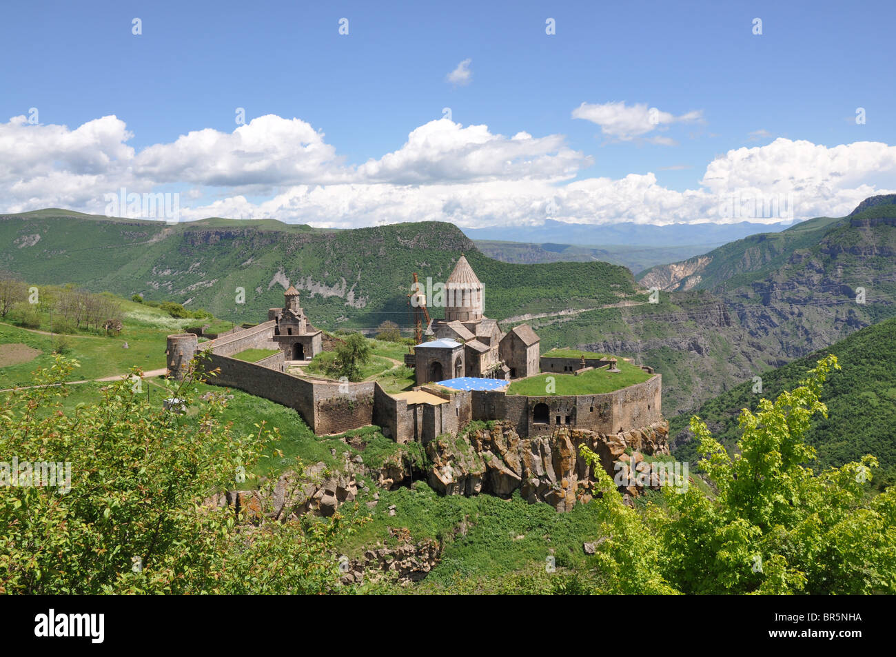Tatev monastery in Southern Armenia seen from above - Stock Image