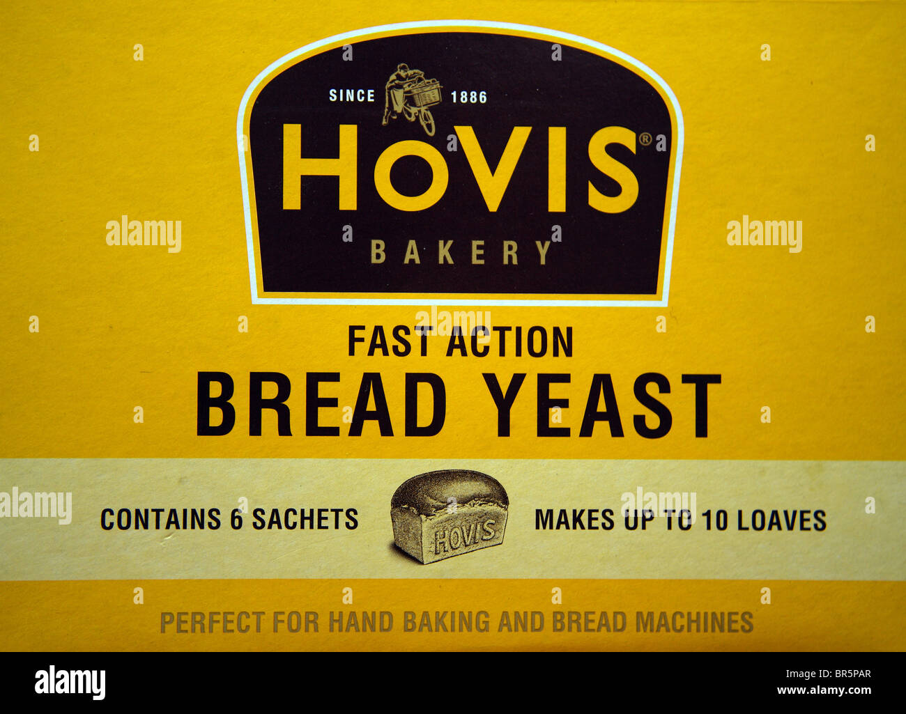 A close up product shot of Hovis bakery fast action bread yeast for hand baking and bread machines. Stock Photo